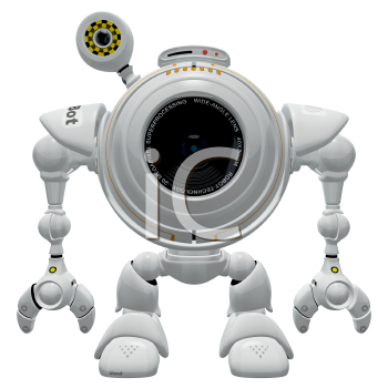 Royalty Free Clipart Image of a robot web cam standing straight up.