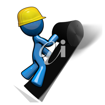 Royalty Free Clipart Image of a Blue Man Installing Roof Felt
