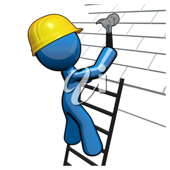 Royalty Free Clipart Image of a Blue Man Hammering a Roof