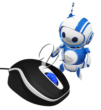 Royalty Free Clipart Image of a Robot Beside a Computer Mouse