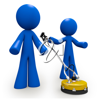 Royalty Free Clipart Image of Two Blue Men Using a Concrete Cleaner
