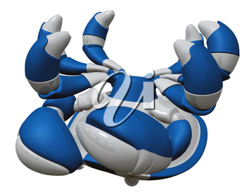 Royalty Free Clipart Image of a Robot Crab on its Back