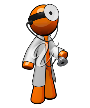 Royalty Free Clipart Image of an Orange Man Doctor Wearing a Stethoscope and Lab Coat