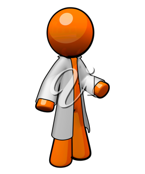 Royalty Free Clipart Image of an Orange Man Wearing a Lab Coat