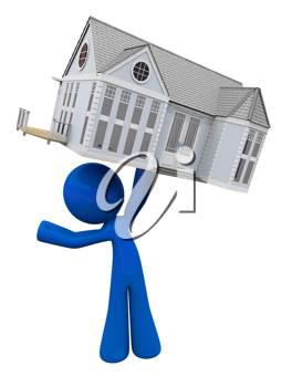 Royalty Free Clipart Image of a Blue Man Holding a House