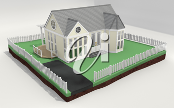 Royalty Free Clipart Image of a House and Yard