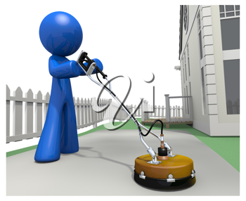 Royalty Free Clipart Image of a Blue Man Cleaning the Concrete Driveway