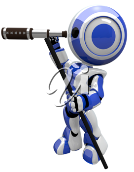 Robot with telescope, cute and electronic. He is a scout.
