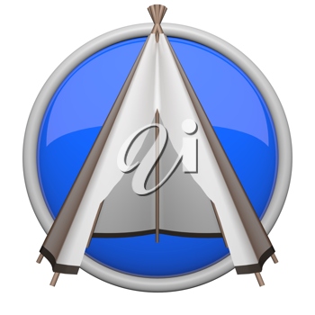 Teepee icon, blue for things such as camping and outdoors.