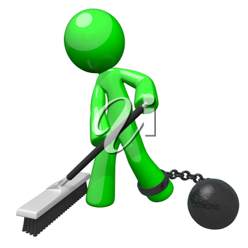 Green man with a ball and chain sweeping the floor. Denotes slavery, blue collar servitude, or some undesirable form of hard labor.