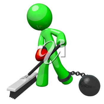 Green man with a boxing glove and ball and chain, sweeping the floor. A good concept for substandard working conditions and employee dissatisfaction.