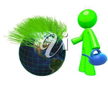 3d Green man watering the earth, and grass is growing from it - a concept in green earth conservation, sustaining, and development.