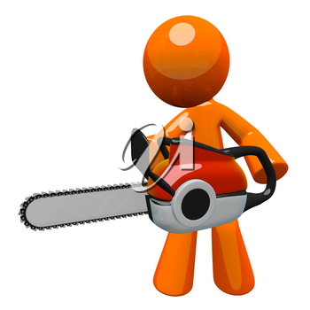 3d Orange man holding chainsaw, ready to cut. Chain saw was fun to model - fairly accurate but simple and stylized enough for the orange man.