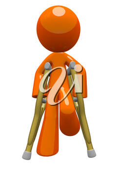 Orange man with crutches front view. Basic concept in patient care and recovery.