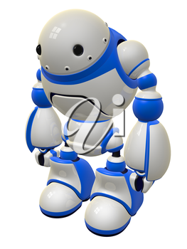 Security robot standing ready to defend. But who would want to fight a robot this cute?