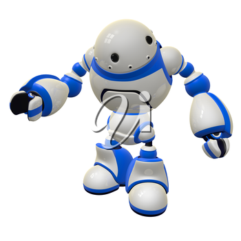 Software security concept robot standing with an inquisitive pose, perhaps asking a question.