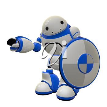 Concept in computer security - a robot with a shield. He is waving hi. Can depict firewall and antivirus threat control.