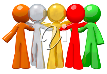 Group of people together, different colors. Denotes workplace diversity. Orange, silver, gold, red, and green people.