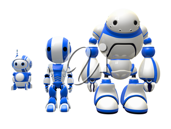 Three robot workers ready to work in place of an actual human. They cost less to employ.