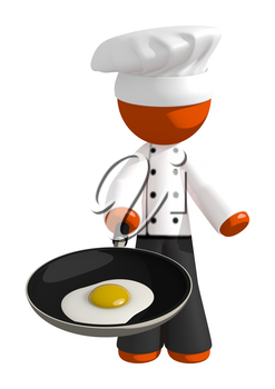 Orange Man Chef with Frying Pan and Egg