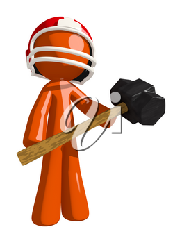 Football player orange man ready to crush competition with sledge hammer.