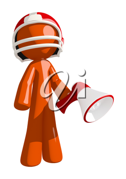 Football player orange man with a red helmet holding a red bullhorn.