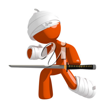 Personal Injury Victim Defense Pose Ninja Sword