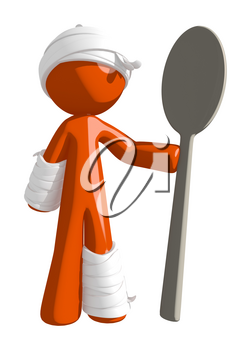 Personal Injury Victim Holding a Large Spoon