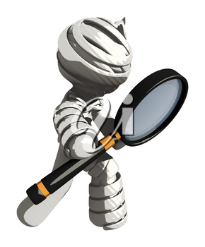 Mummy or Personal Injury Concept Looking Through Large Magnifying Glass