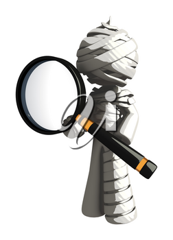 Mummy or Personal Injury Concept Posing with Magnifying Glass