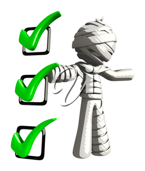 Mummy or Personal Injury Concept Presenting a Checklist