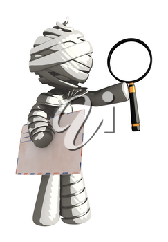 Mummy or Personal Injury Concept Holding Envelope and Magnifying Glass