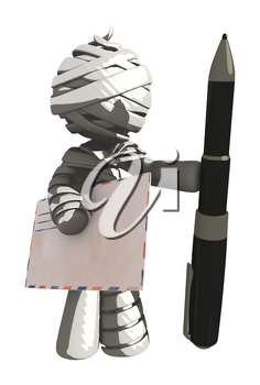 Mummy or Personal Injury Concept Holding Large Pen and Envelope