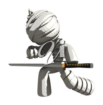 Mummy or Personal Injury Concept Striking with Ninja Sword