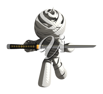 Mummy or Personal Injury Concept Kneeling with Ninja Sword