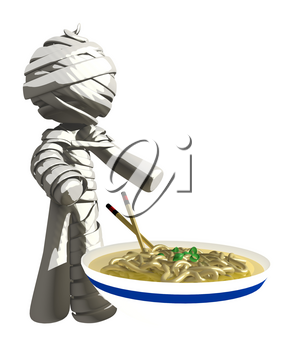 Mummy or Personal Injury Concept with Large Bowl of Saimin