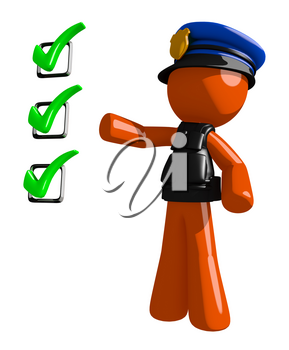 Orange Man police officer  Pointing Green Checkmark List