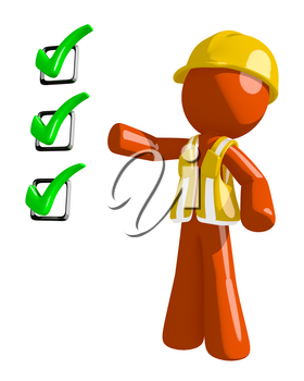 Orange Man Construction Worker  Pointing Green Checkmark List