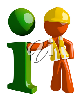 Orange Man Construction Worker  Info Icon
