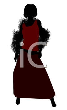 Royalty Free Clipart Image of a Woman With a Boa