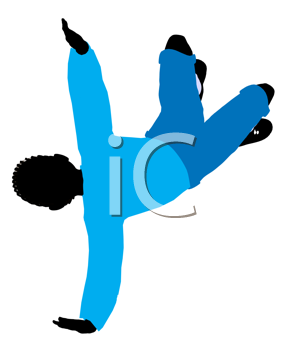 Royalty Free Clipart Image of a Boy Doing a Flip