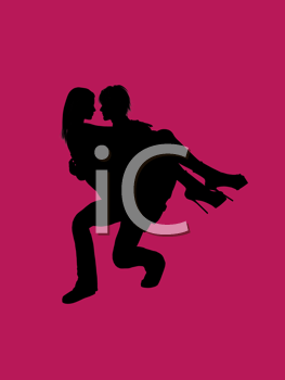 Royalty Free Clipart Image of a Couple on Pink