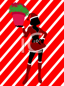 Royalty Free Clipart Image of an Elf With a Poinsettia