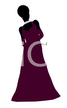 Royalty Free Clipart Image of a Woman in an Evening Gown