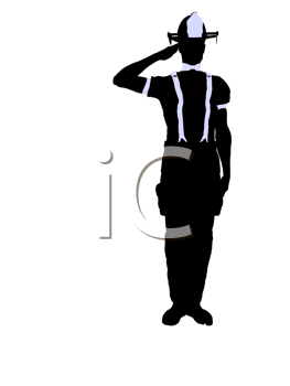 Royalty Free Clipart Image of a Saluting Firefighter