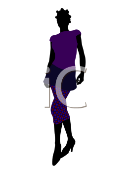 Royalty Free Clipart Image of a Woman in Purple