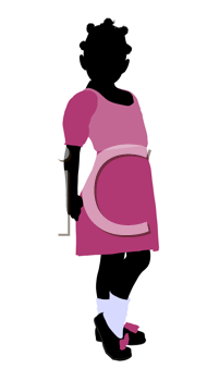 Royalty Free Clipart Image of a Girl in a Pink Dress