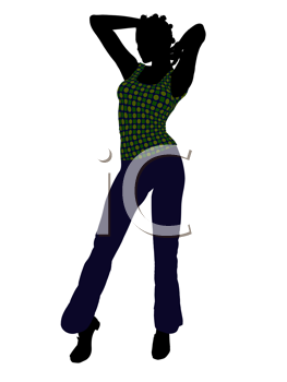 Royalty Free Clipart Image of a Girl in a Green Top