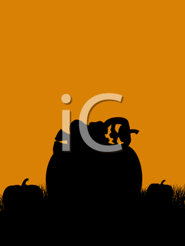 Royalty Free Clipart Image of a Jack-o-Lantern and Pumpkin