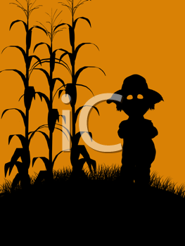 Royalty Free Clipart Image of a Scarecrow in a Cornfield